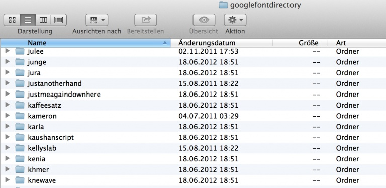 Finder mit Ordner googlefontdirectory