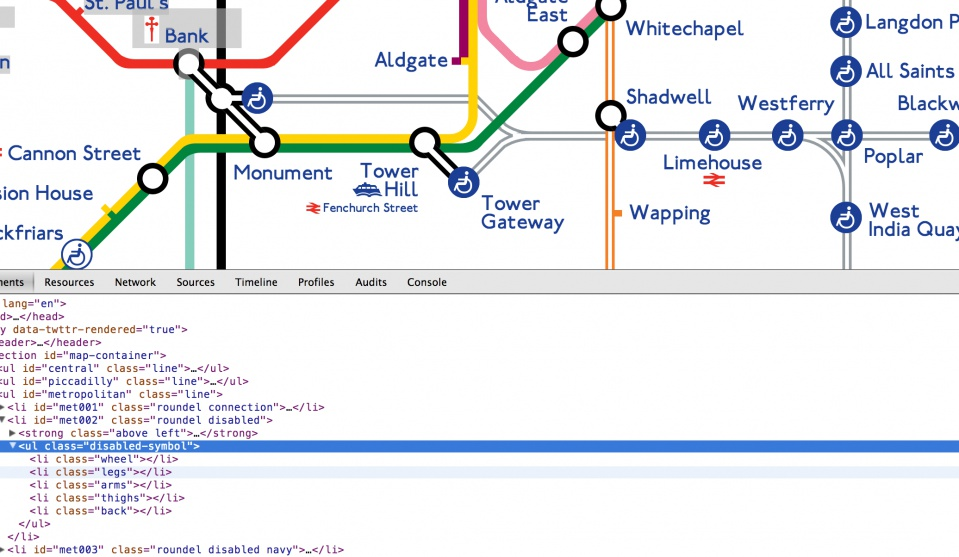 CSS Tube Map mit Quelltext • Quelle: http://www.csstubemap.co.uk/index.html